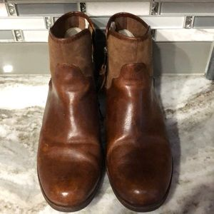 Ugg Penelope short leather boots brown shearling 9
